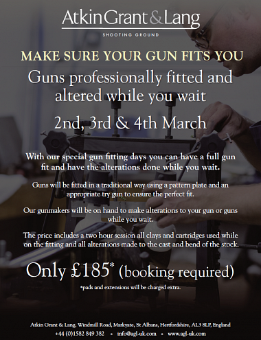 Guns professionally fitted & altered while you wait - March 2017 -