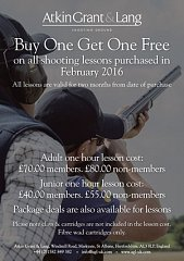 Buy One Get One Free on all lessons purchased in February
